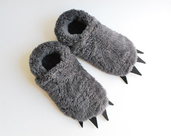 Furry Monster Slippers - Grey with Black Claws - Adult Sized
