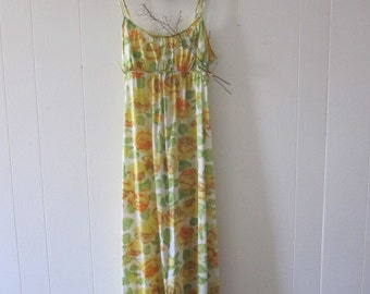 1970s Nightgown Vanity Fair Yellow Rose Lingerie MINT Empire Waist / Maxi  Size 38