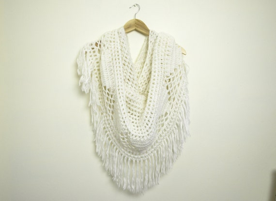 Crochet Pattern For Bohemian Shawl : White Crochet Scarf / Vintage Bohemian Shawl with Fringe