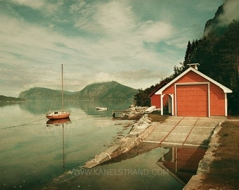 Scandinavian art, Norway fjord photograph, vintage inspired print, dreamy landscape, boat house, summer, nautical picture 8x10 photo