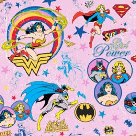 Last Yard - Discontinued Girl Power Female Superheroes Circles on Pink Fabric DC Comics Camelot Cottons