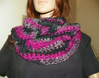 Infinity Scarf Black Raspberry  Cowl Neck Warmer Hood Hand Crochet  Very Stunning