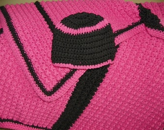 Baby Shower Gift Beautiful Hot Pink with Black Set Afghan For a Girl Hand Crochet Goth Style