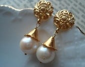 Pearl Earrings Baroque Gold Vermeil Winter Weddings Brides Bridesmaids Graduation Prom Special Occasions Black Tie Maid of Honour Round