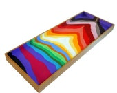 Rainbow Stripes XL Painted Bamboo Tray Extra Large - MADE to ORDER