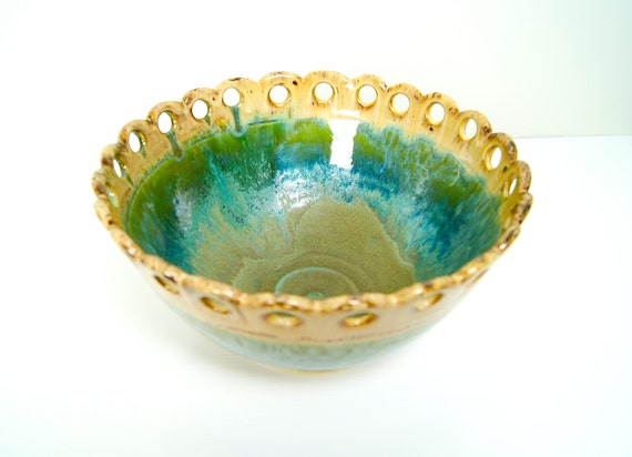 Custom Listing for Elaine / Handmade Bowl / Ready to Ship /  Carved Pierced Circle Rim / green and brown