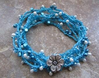 6 Strand Crochet Bracelet, Necklace, Anklet or Lariat