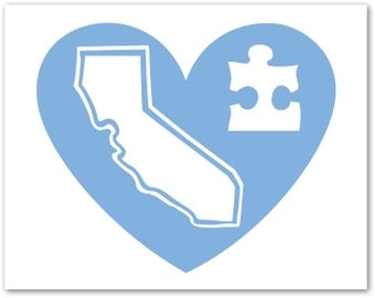 "The ""Heart For Autism"" California Heart Decal"