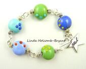 Bracelet of Turquoise, Green & Blue Lampwork Beads