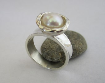 sterling silver pearl ring organic ring Mothers day gift Ready to ship