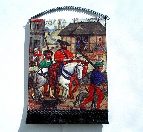 Village Life Medieval Tapestry, Dollhouse Miniature 1/12 Scale, Hand Made in the USA