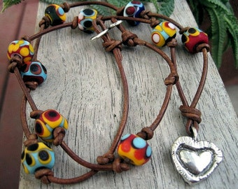 Glass Bead Bracelet or Necklace on leather strand Etched Colorful Handmade Beads Artisan Sterling Heart