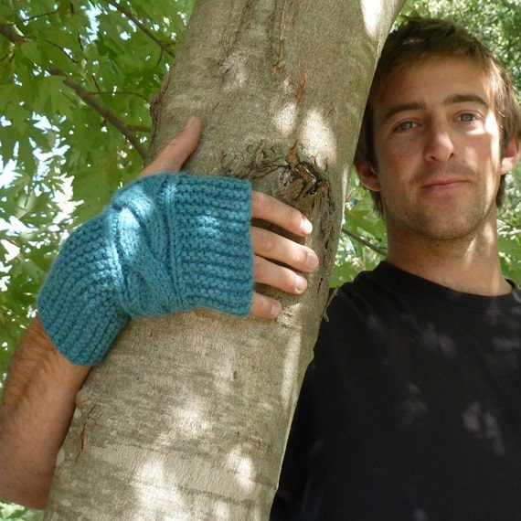 man fingerless Knit Pattern Gloves - PDF Chic CABLE easy Photo tutorial Unisex Pattern - Instant Download