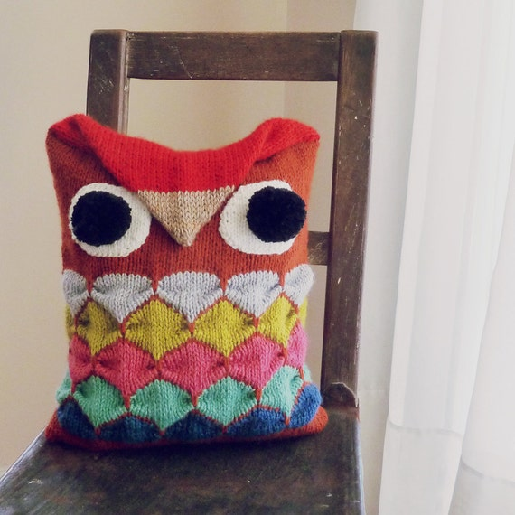 Disney Knitting Patterns Free : Owl Pillow knit pattern / toy tutorial PDF Geometric by bySol