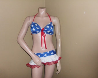 THONG INCLUDED lace ruffle tutu and slouchy top stripper exotic dancer clubwear costumes rave gogo clubwear