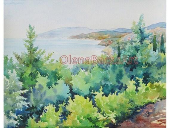 """Sale WATERCOLOR Painting Landscape Seascape Original Painting 11""""x14"""""""