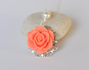 Bridesmaid Necklace: Simple Coral Rose and White Swarovski Pearl Necklace.  Coral Bridesmaid Jewelry. Bridal Party Gifts.  .