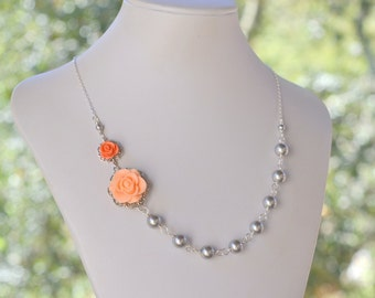Bridesmaid Jewelry Peach and Coral Rose Asymmetrical Grey Pearl Necklace.  Fashion Rose Necklace.  Wedding Jewelry. Bridal Party Jewelry.
