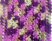 Crocheted Dollhouse Blanket Purple and Green
