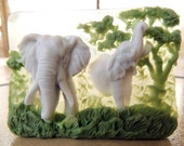 ELEPHANT SOAP, The Original by TCF- Elephants, Big Grays - Sweet Grass and Cedar Scented, Elephants Running Free Soap