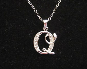 """925 sterling silver CZ Letter Initial """"Q"""" pendant charm with necklace chain, personalized monogram necklace"""