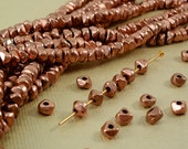 20 Copper Spacer Nugget 4mm  x 3mm Nugget Chip Beads from India BOHO Natural Beads Copper Plated