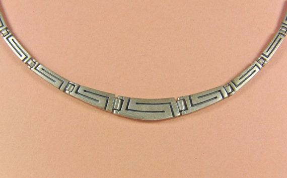 SALE Vintage Sleek Brushed Sterling Link Panel Necklace