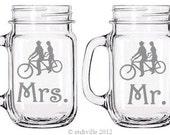 Mason Jar Handle mugs tandem bicycle, Matching Mr & Mrs