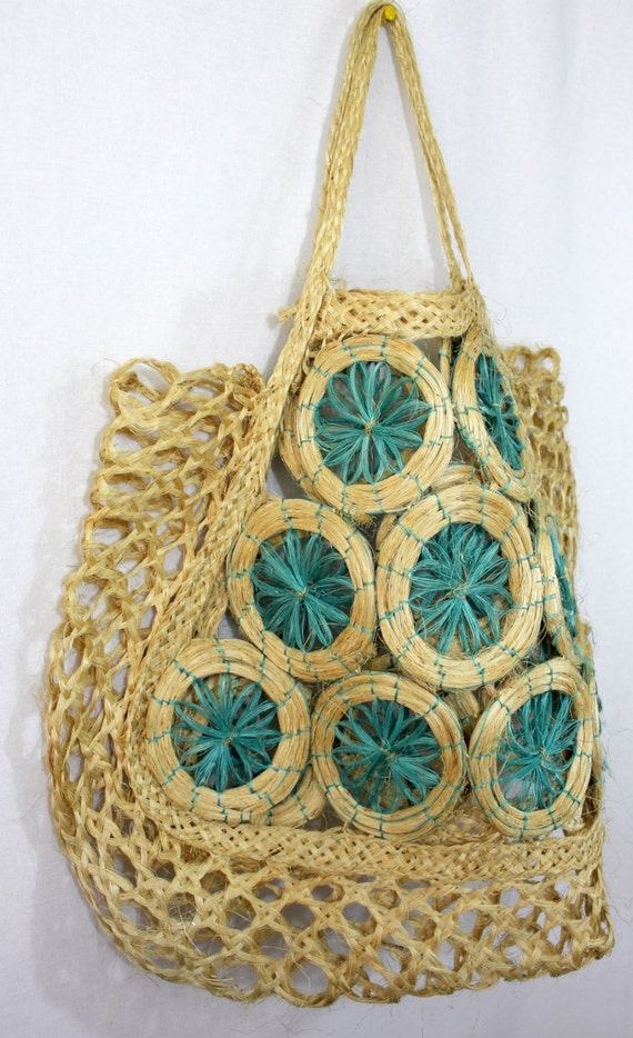 Basket Weaving With Raffia : Vintage s woven straw beach bag large by