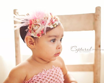 DELUXE VINTAGE FLORAL Headband - Preemie to Adult Sizes Available