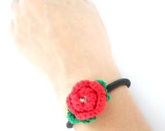 Rose bracelet Hair tie crochet redRED rose 2cm (0.8 inch) green leaf elastic band