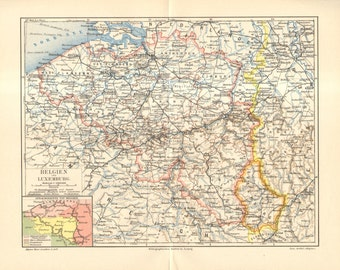 1893 Original Antique Dated Map of Belgium and Luxembourg
