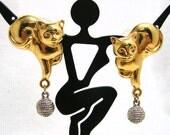 Vintage Cat/Yarn Pierced Earrings Modern Two Tone Fun Funky Cat lovers!!!