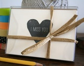 I Miss You / Letterpress Printed Notecards / Set of 6