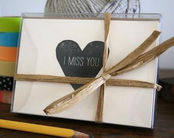 I Miss You / Letterpress Printed Notecards / Set of 6