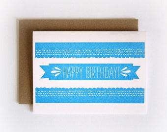 Happy Birthday Banner // Letterpress Printed Card