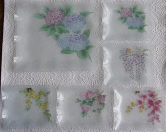 Vintage Glass Trays with Painted Flowers - 1 Large and 5 Small Made in Japan FC Glass 1960s