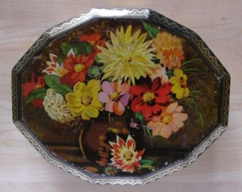 Vintage Advertising Tin / Blue Bird Toffees Tin Made by Harry Vincent Ltd. England / Vase of Flowers