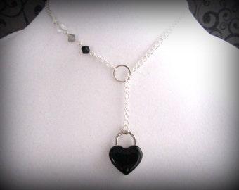 Discreet Slave Day Collar,, Locking Heart Collar, Valentine Collar