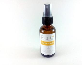 Lemon Vanilla Body Spray - Citrus Vanilla Hair and Body Splash Alcohol Free 2oz Body Spritz