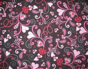 Brother and Sister Design Valentine polka dot hearts on black 1 yard
