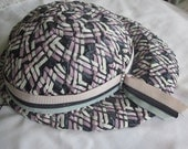 RESERVED Vintage Raffia Straw Sun Hat, Women's, Plaid Pink, blue, and White, Summer Cute Retro Style