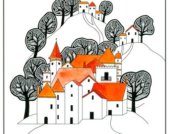 Illustration Art Print, Ink Drawing, Watercolor Painting, Hilltop Village, Orange Black, Graphic Art, Trees And Houses, 10 x 8 Print