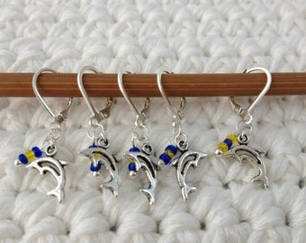 Removable Stitch Markers Dolphins - 5 Orca Killer Whale Stitch Markers for Crochet and Knitting