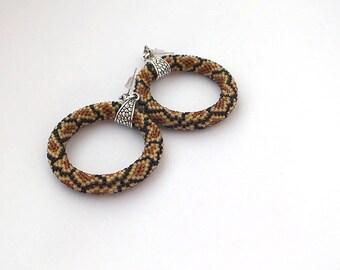 Dangle earrings- snake beaded hoop earrings -beadwoven earrings in brown- handcrafted earrings- beadwork