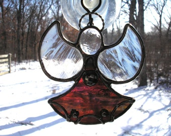 LT Stained glass rose mix Angel suncatcher light catcher made with clear rose mix heavy textured clear glass