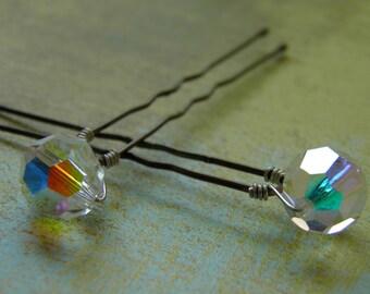 6 Swarovski 10mm Crystals Clear AB Hair Pins