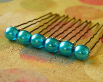 6 Turquoise Blue 8mm Czech Crystal Pearl Hair Pins