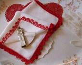 Valentine Hankie Red Crochet Edge Valentine Handkerchief Bonus Red Roses Greeting Card