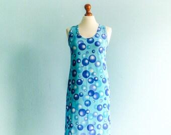 Vintage 80s 90s Summer Dress Sun Dress / Pastel Blue / Polka Dots / Sleeveless / Fitted Tube Pencil / Maxi Long / medium
